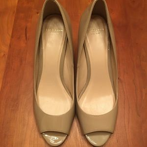 Cole Haan nude patent peep toe wedges